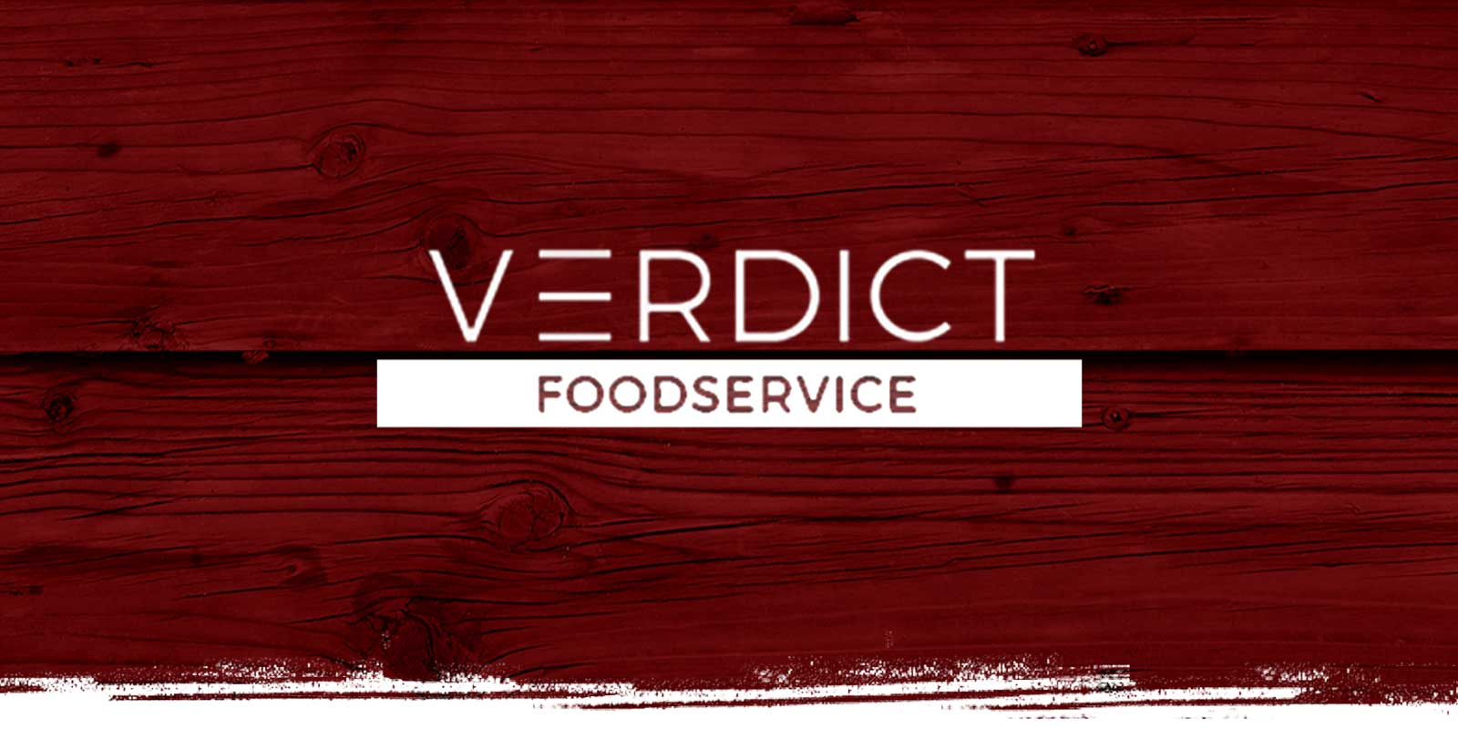 Verdict Foodservice logo on red weathered wood background