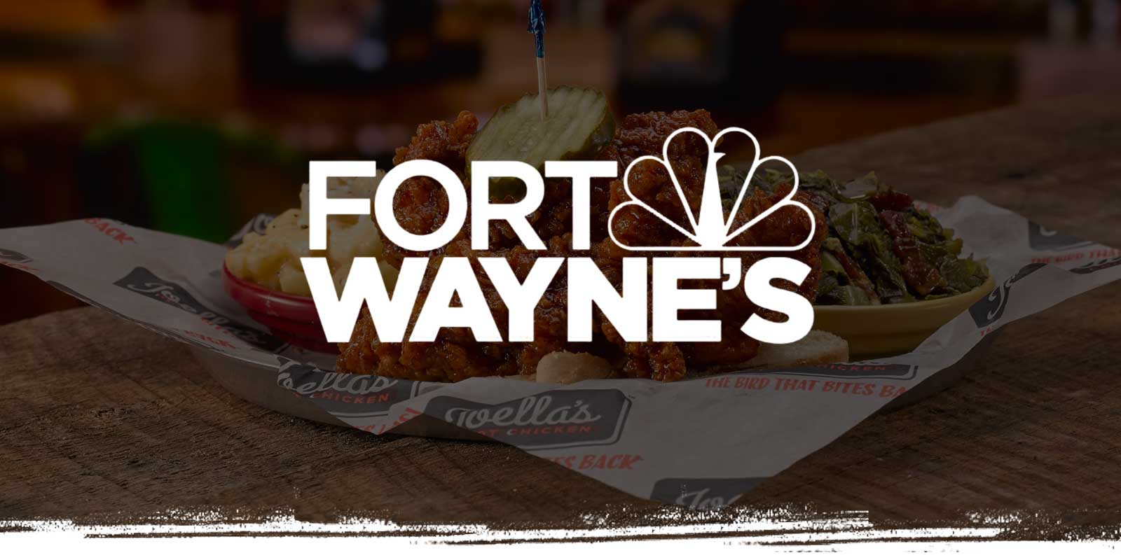 Fort Wayne's NBC logo on Chicken Tenders background