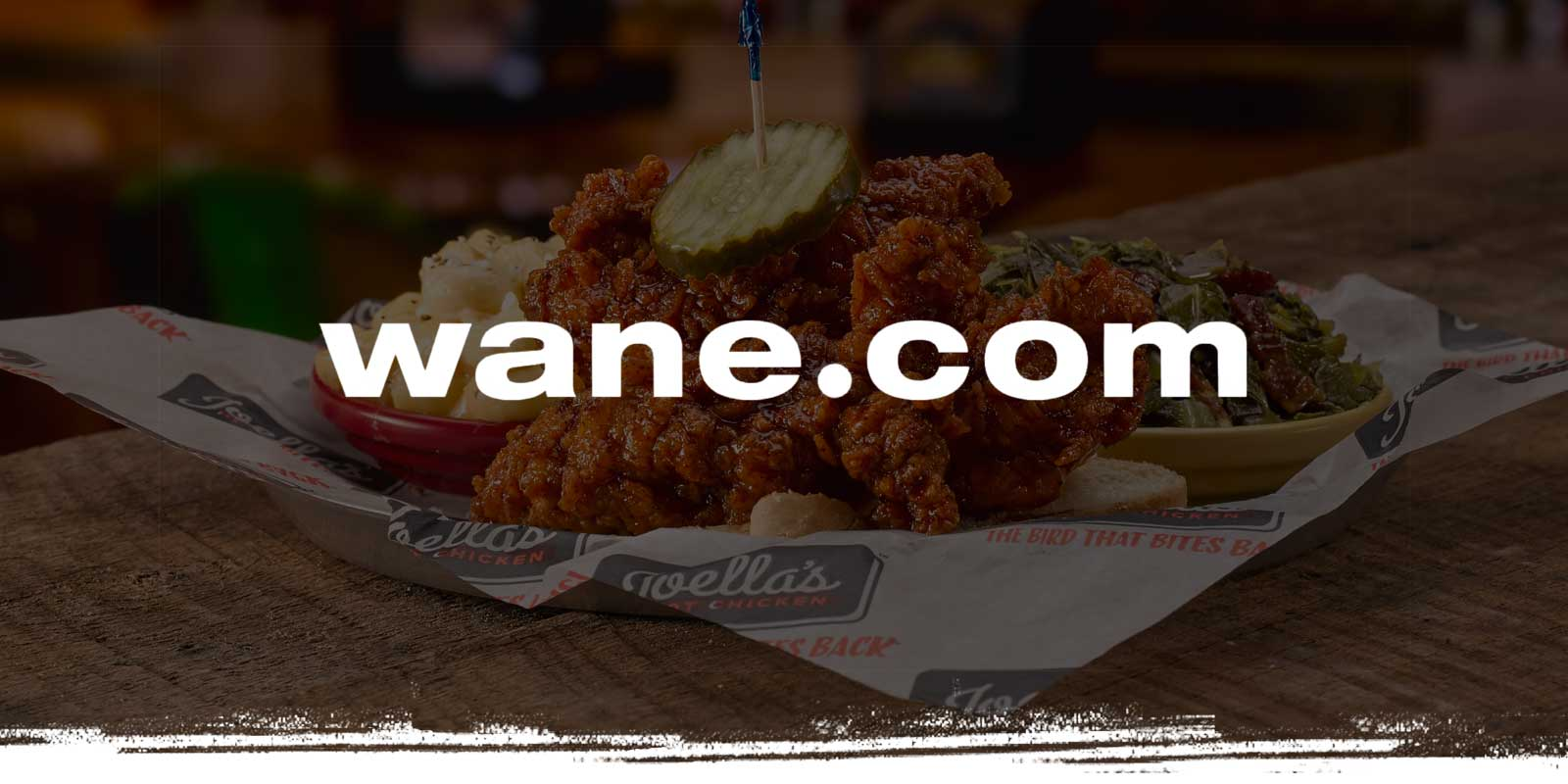 Wane.com logo on Chicken Tenders background